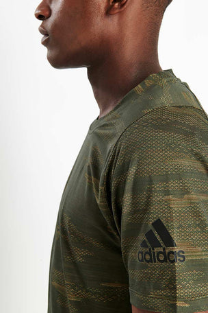 Adidas FreeLift Camo Tee - Tech Olive image 4 - The Sports Edit