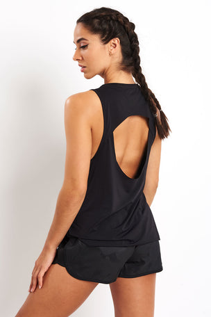 ADIDAS Open Back Tank Top - Black image 2 - The Sports Edit