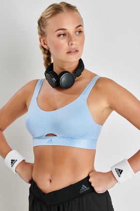 a0232733 ADIDAS Stronger For It Soft Bra - Glow Blue image 1 - The Sports Edit