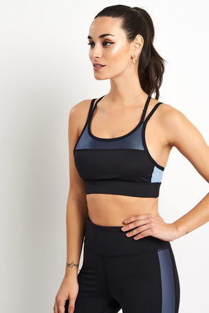 Alala Block Bra Ice - Blue/Black image 5 - The Sports Edit