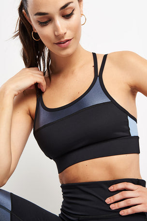 Alala Block Bra Ice - Blue/Black image 3 - The Sports Edit