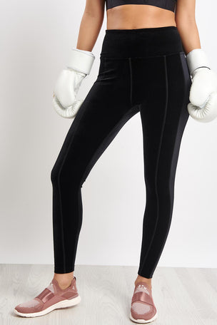 Alala Zip Crop Tight - Black Velvet image 5 - The Sports Edit