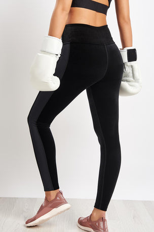 ALALA Zip Crop Tight - Black Velvet image 2 - The Sports Edit