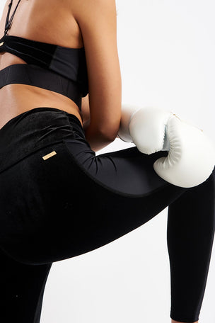 ALALA Zip Crop Tight - Black Velvet image 3 - The Sports Edit