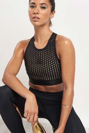 Alala Cross Back Bra Liquid Gold image 3 - The Sports Edit