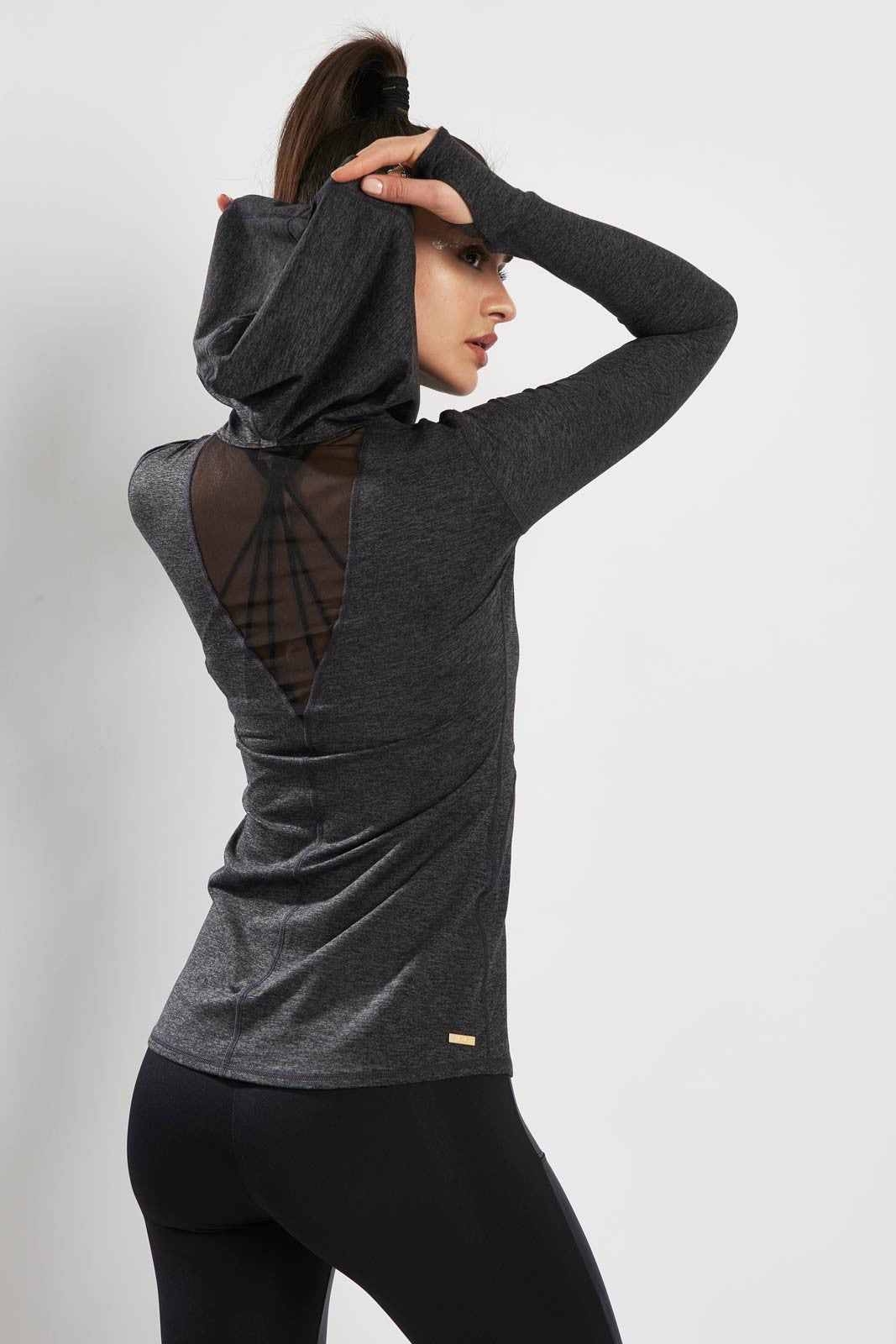 Alala Flyweight Hoodie Charcoal image 2 - The Sports Edit