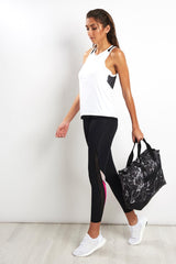 Alala Heroine Tight - Black/White/Hibiscus image 4 - The Sports Edit
