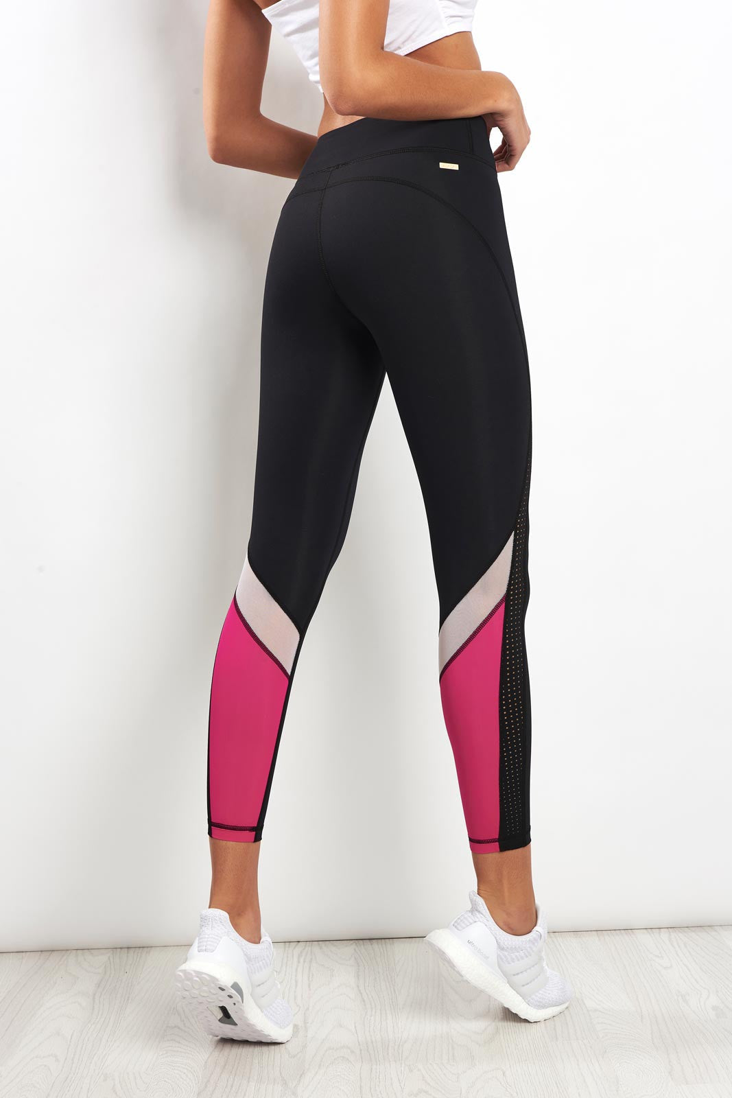 Alala Heroine Tight - Black/White/Hibiscus image 2 - The Sports Edit