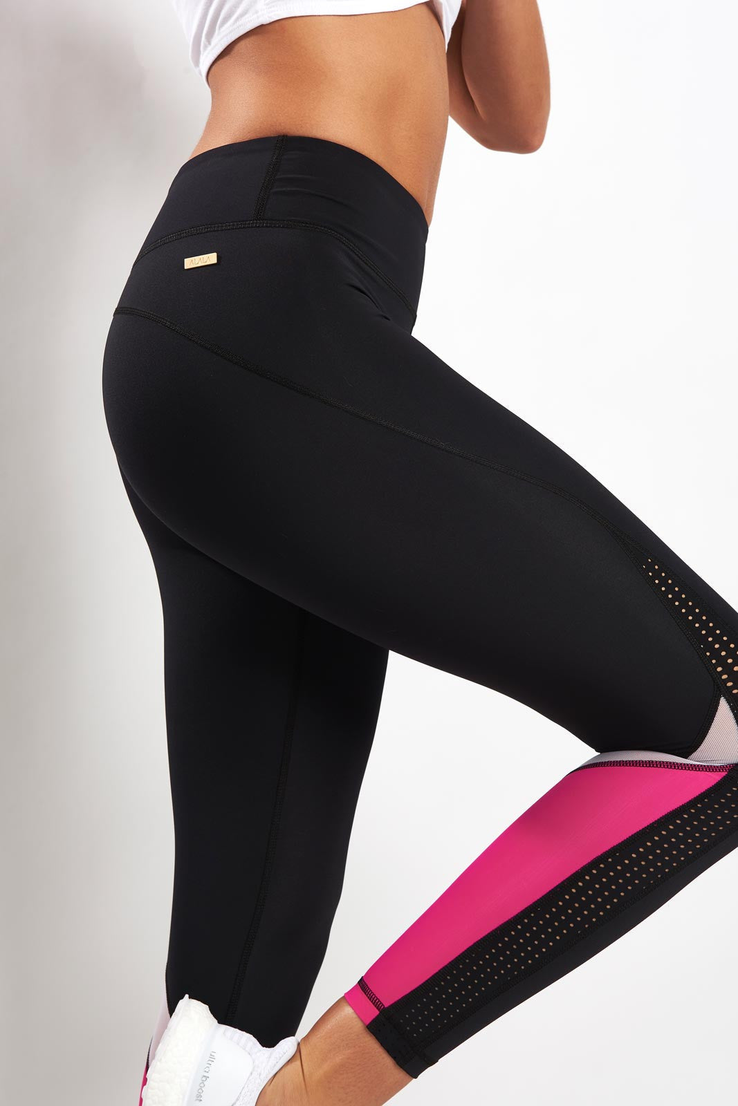 Alala Heroine Tight - Black/White/Hibiscus image 3 - The Sports Edit