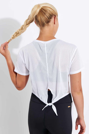 Alala Tie Back Crop Tee - White image 1 - The Sports Edit