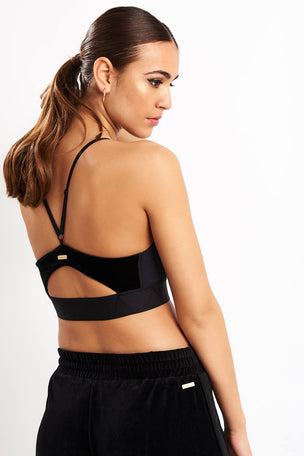 Alala Zip Cami Bra - Black Velvet image 2 - The Sports Edit