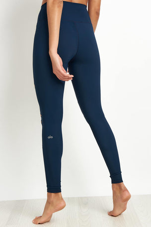 Alo Yoga High Waist Ripped Warrior Legging Navy image 2 - The Sports Edit