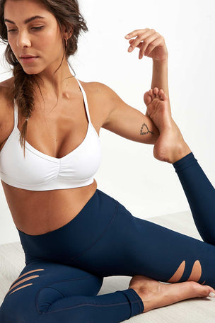 Alo Yoga High Waist Ripped Warrior Legging Navy image 3 - The Sports Edit