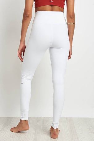 Alo Yoga High Waisted Ripped Warrior Legging White image 2 - The Sports Edit