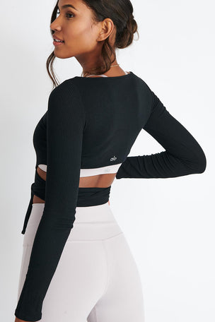 Alo Yoga Barre Long Sleeve - Black image 2 - The Sports Edit