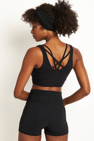 Alo Yoga Delicate Twisted Back Bra - Black image 1 - The Sports Edit