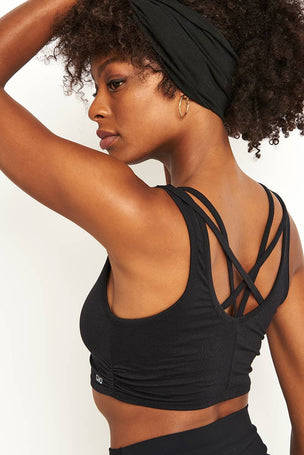 Alo Yoga Delicate Twisted Back Bra - Black image 3 - The Sports Edit