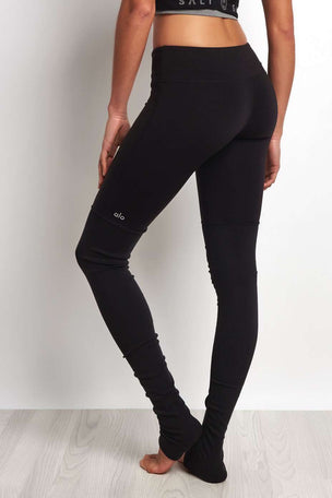 Alo Yoga Goddess Ribbed Legging Black/Black image 3 - The Sports Edit