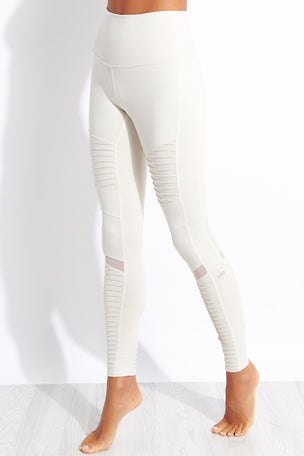 Alo Yoga High Waisted Moto Legging - Bone image 1 - The Sports Edit
