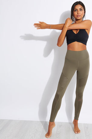 Alo Yoga High Waisted Moto Legging - Olive Branch image 2 - The Sports Edit