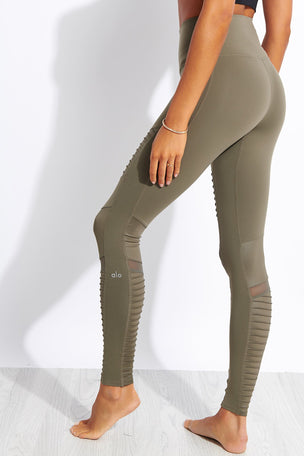 Alo Yoga High Waisted Moto Legging - Olive Branch image 3 - The Sports Edit