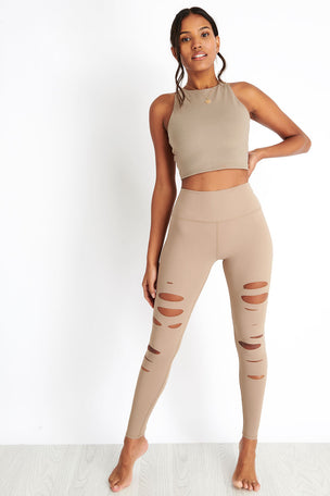Alo Yoga High-Waist Ripped Warrior Legging - Gravel image 4 - The Sports Edit