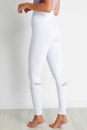 Alo Yoga High Waisted Moto Legging - White Glossy image 2 - The Sports Edit