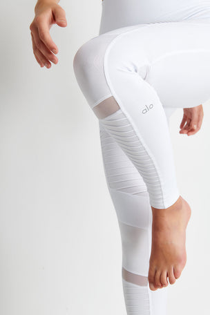 Alo Yoga High Waisted Moto Legging - White Glossy image 3 - The Sports Edit