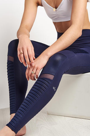 Alo Yoga High Waisted Moto Legging - Rich Navy image 3 - The Sports Edit
