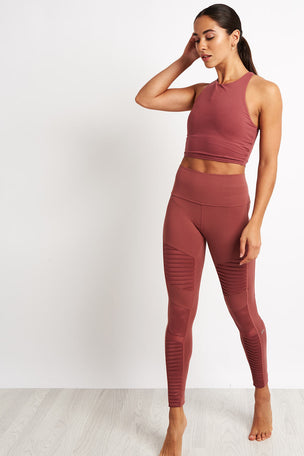Alo Yoga High Waist Moto Legging - Rosewood Glossy image 4 - The Sports Edit