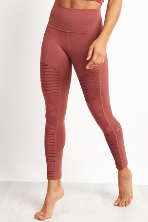Alo Yoga High Waist Moto Legging - Rosewood Glossy image 1 - The Sports Edit