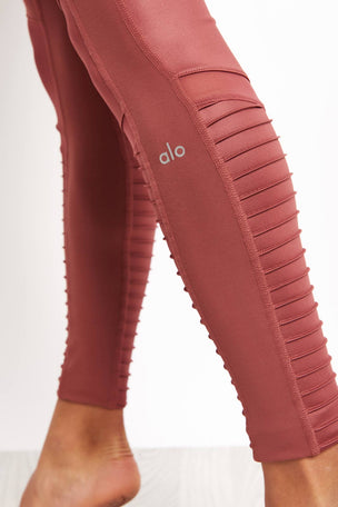 Alo Yoga High Waist Moto Legging - Rosewood Glossy image 3 - The Sports Edit