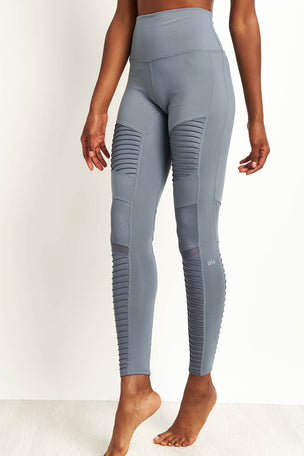 Alo Yoga High Waist Moto Leggings - Concrete image 5 - The Sports Edit
