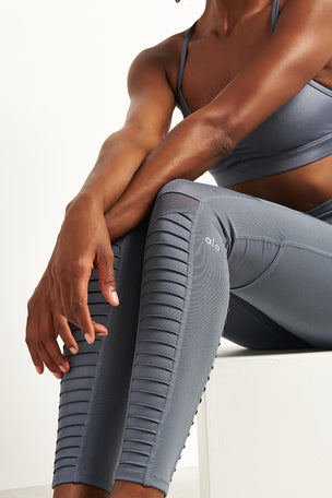 Alo Yoga High Waist Moto Leggings - Concrete image 3 - The Sports Edit