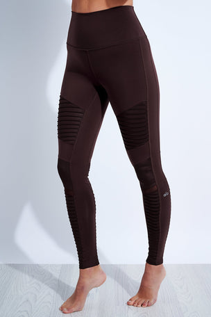 Alo Yoga High Waisted Moto Legging - Oxblood image 1 - The Sports Edit
