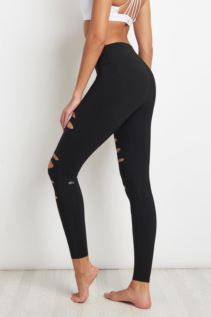 c64dc7aa96 Alo Yoga High-Waist Ripped Warrior Legging Black image 2 - The Sports Edit