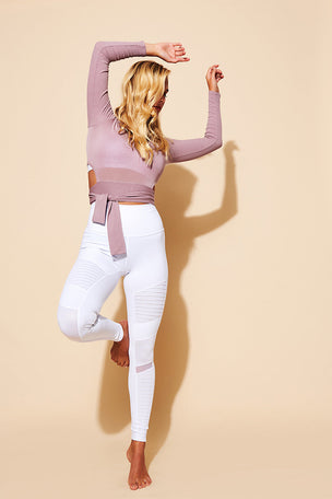 Alo Yoga High Waisted Moto Legging - White Glossy image 5 - The Sports Edit