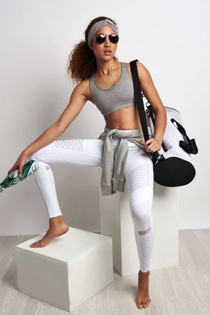 Alo Yoga Moto Legging - White/White Glossy image 2 - The Sports Edit