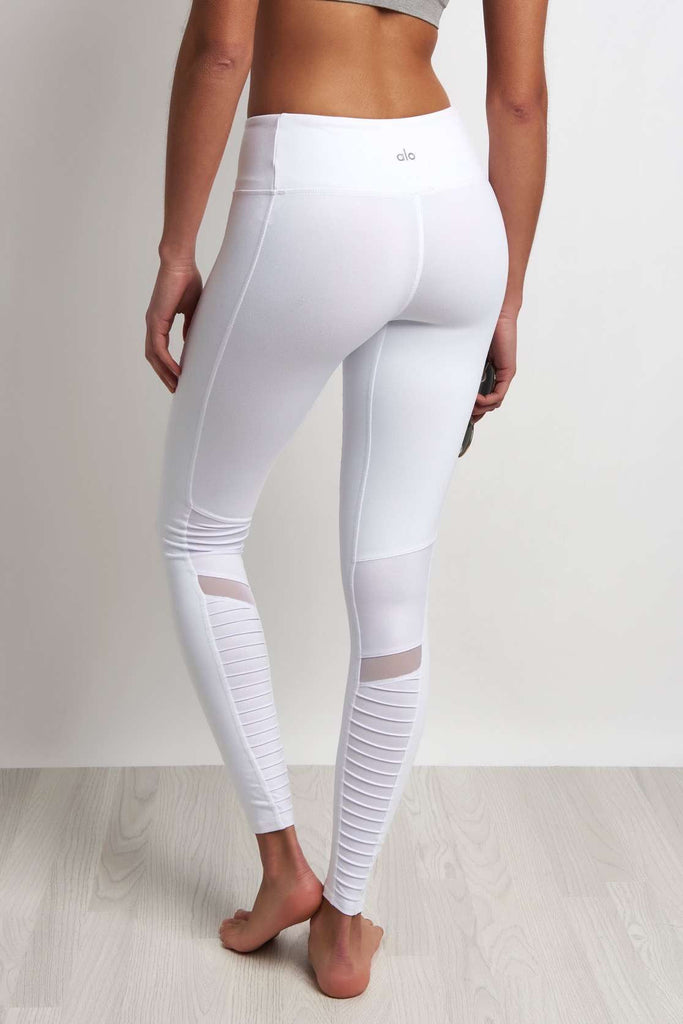 ad9bc8de9aed85 Alo Yoga Moto Legging - White/White Glossy image 3 - The Sports Edit