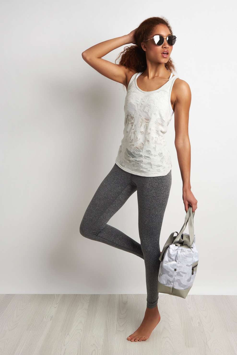 Alo Yoga Pure Tank - White Heather Distressed image 2 - The Sports Edit