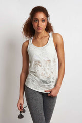Alo Yoga Pure Tank - White Heather Distressed image 1 - The Sports Edit