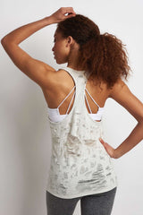 Alo Yoga Pure Tank - White Heather Distressed image 3 - The Sports Edit