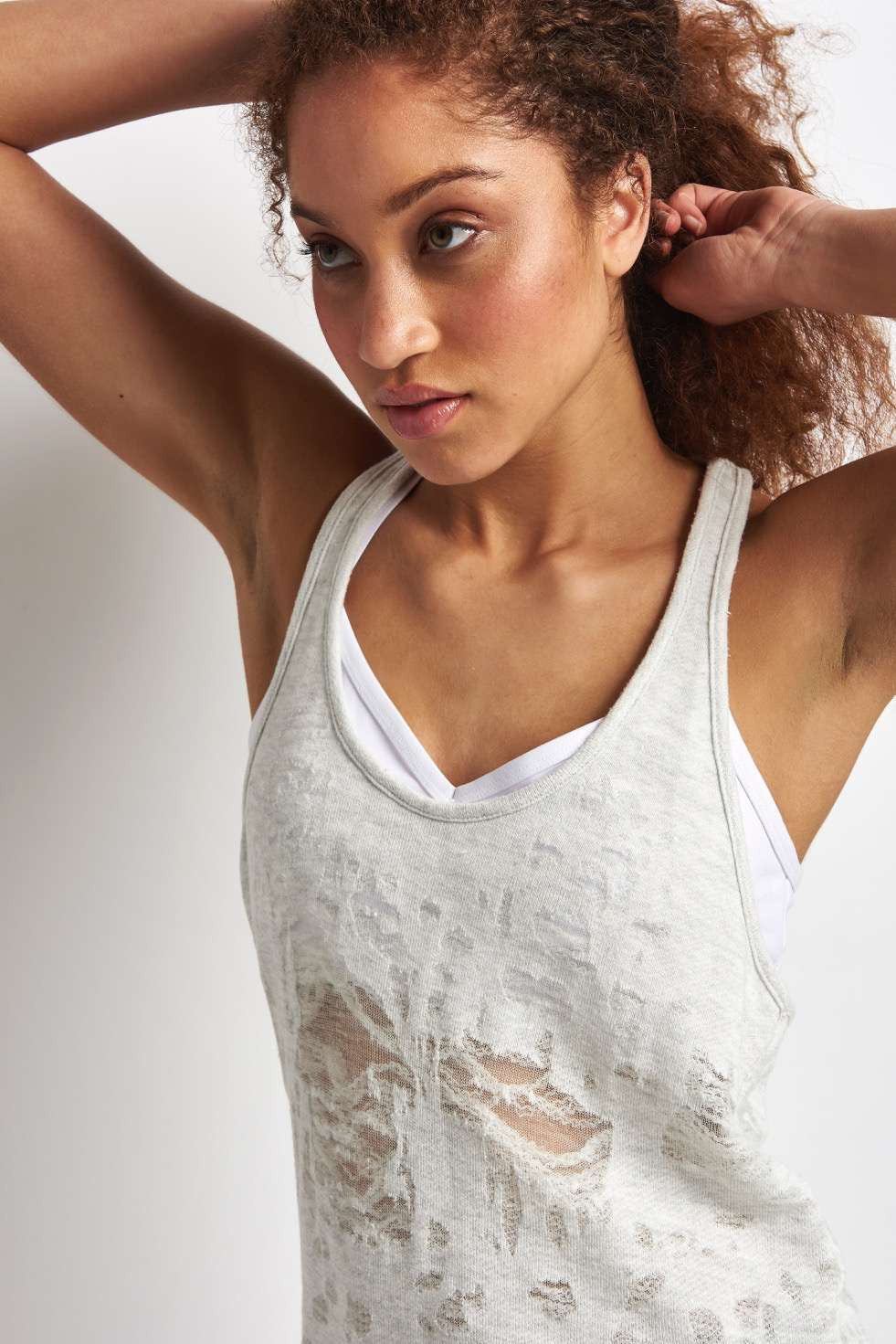 Alo Yoga Pure Tank - White Heather Distressed image 4 - The Sports Edit