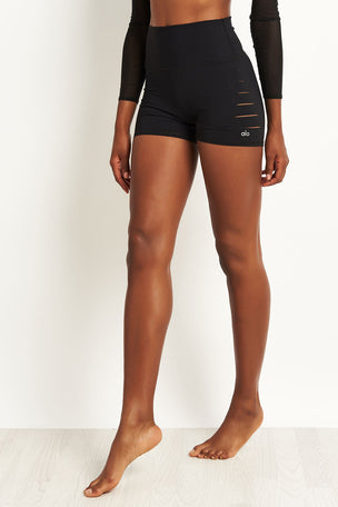 Alo Yoga Ripped Short - Black image 1 - The Sports Edit
