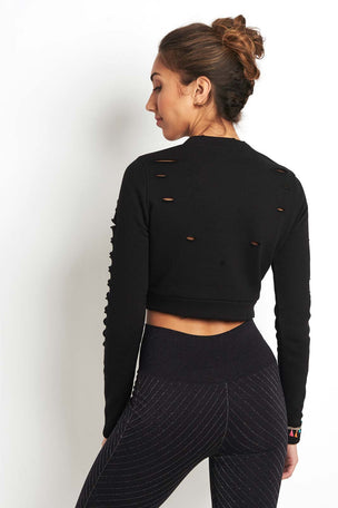 Alo Yoga Ripped Warrior Long Sleeve Black image 2 - The Sports Edit