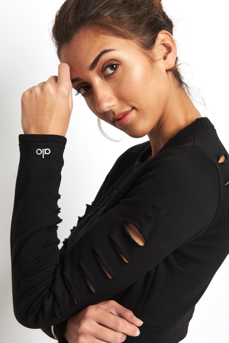 Alo Yoga Ripped Warrior Long Sleeve Black image 3 - The Sports Edit