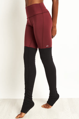 Alo Yoga High Waist Goddess Leggings - Black Cherry/Black image 5 - The Sports Edit