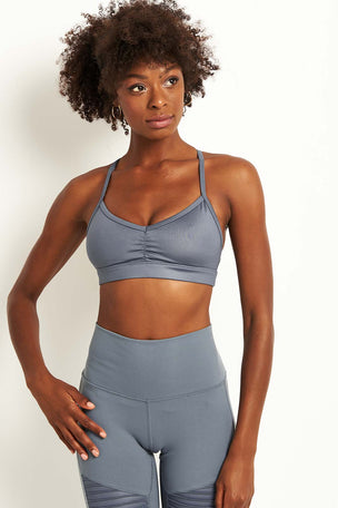Alo Yoga Sunny Strappy Bra - Concrete Glossy image 2 - The Sports Edit