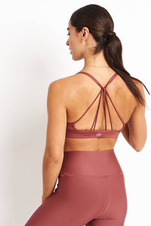 Alo Yoga Sunny Strappy Bra - Rosewood Glossy image 1 - The Sports Edit