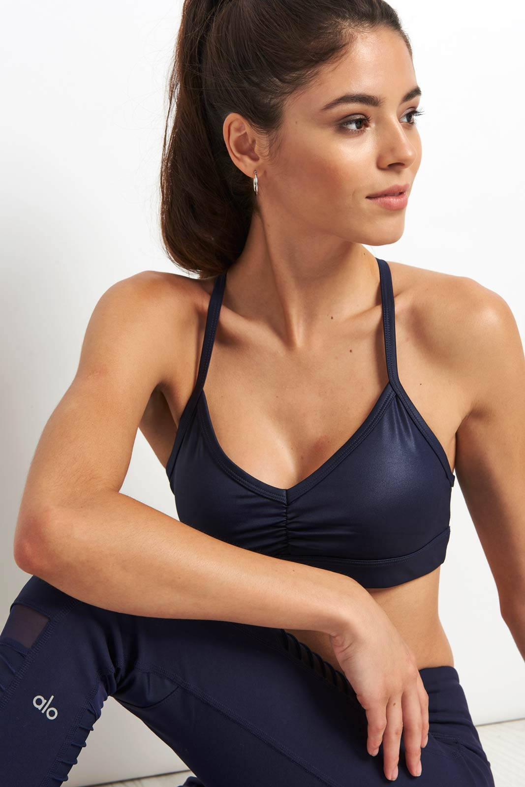 Alo Yoga Sunny Strappy Bra - Navy Glossy image 3 - The Sports Edit